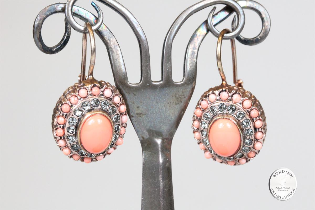 Ohrringe 925 Silber vergoldet Koralle retro Ohrhänger Schmuck Damen Geschenk