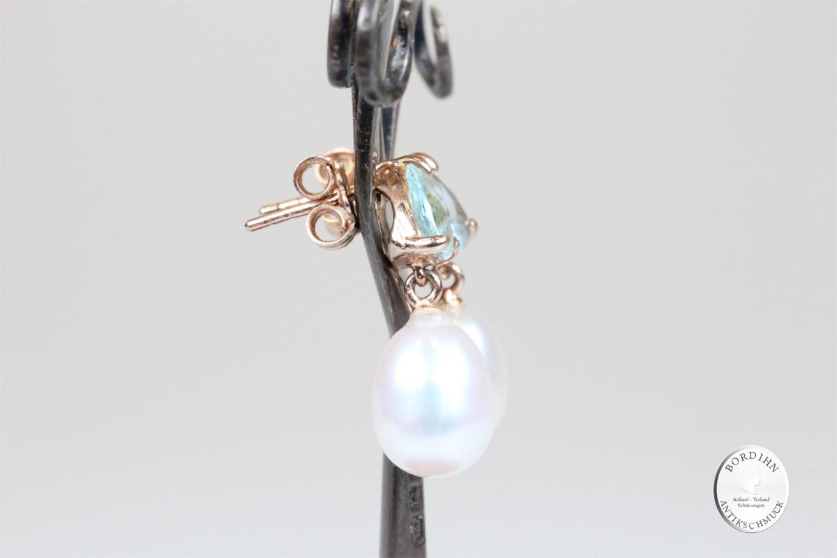 Ohrhänger Silber vergoldet Flusswasser Perlen synth. Strass Ohrschmuck