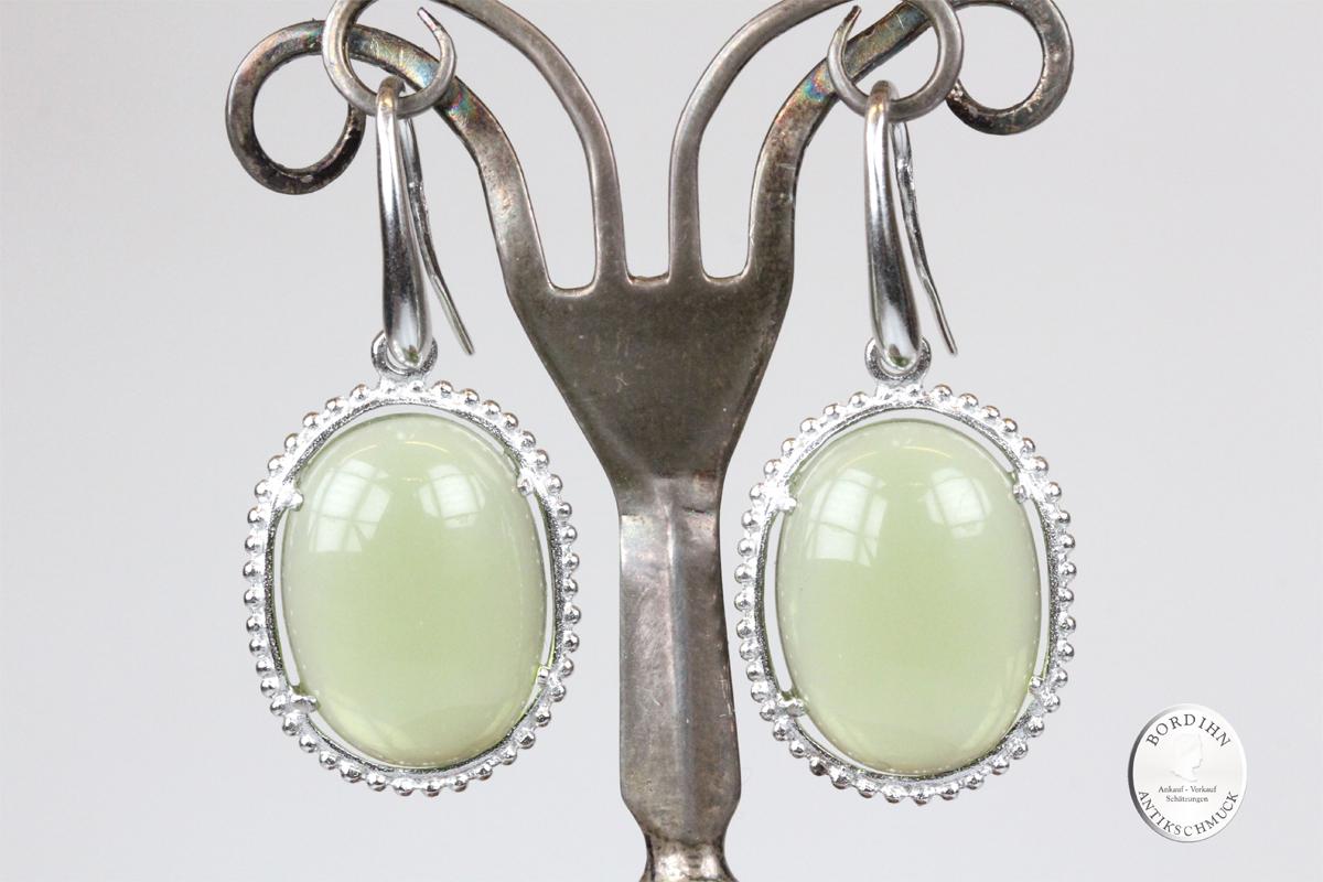 Ohrhänger Sterlingsilber synth. Stein grün Ohrringe Ohrschmuck Damen