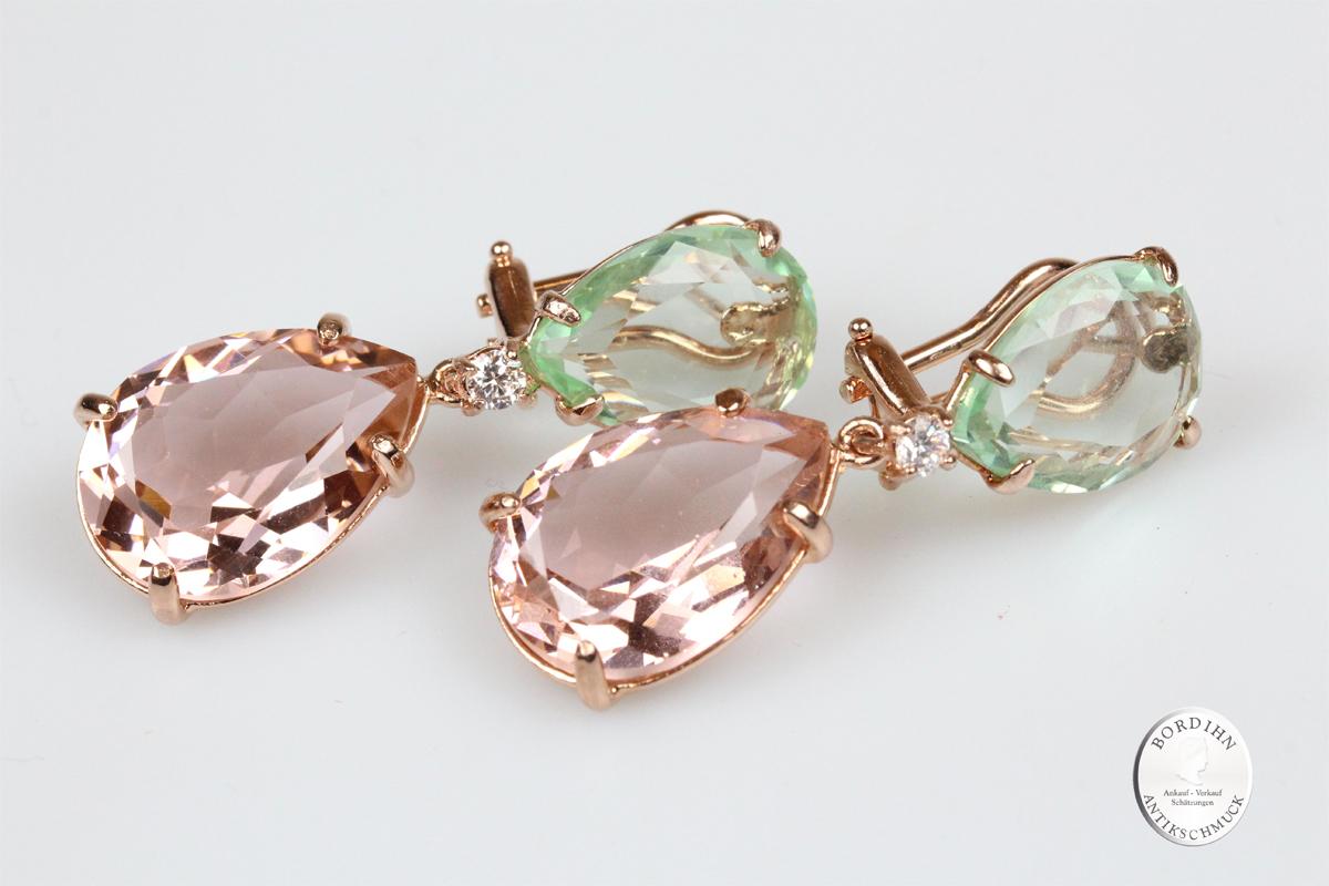 Ohrhänger 925 Silber verg. synth. Steine grün rosa Ohrringe Schmuck