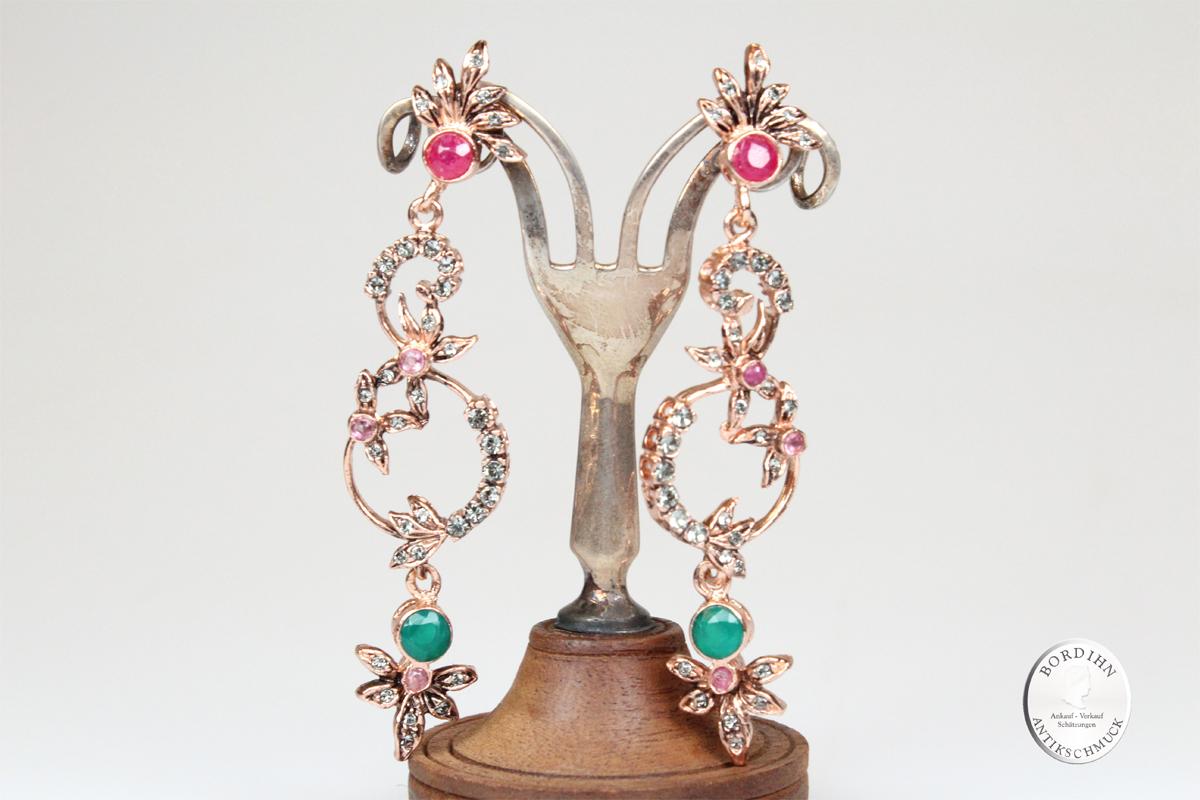 Ohrhänger 925 Silber verg Smaragd Rubin Strass Ohrringe Ohrschmuck