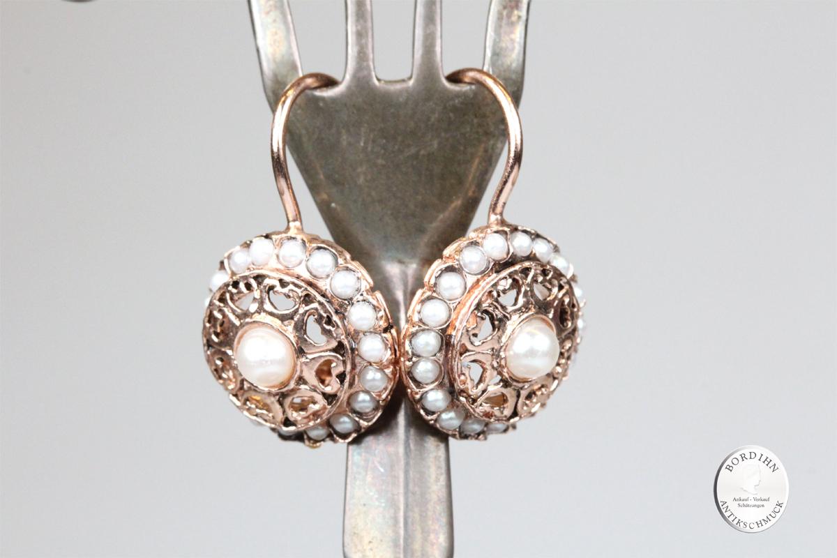 Ohrhänger 925 Silber verg. synth. Perlchen Ohrring Ohrschmuck Damen