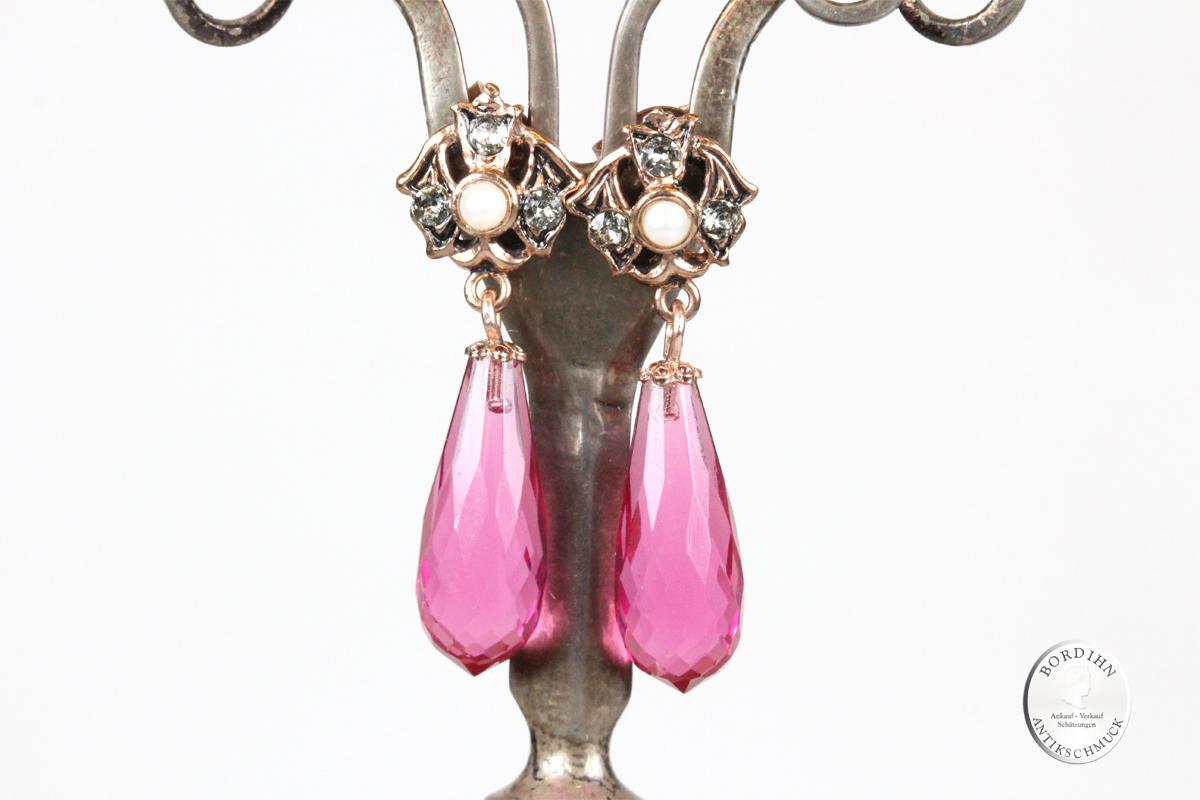 Ohrhänger 925 Silber verg. synth. Stein rot synth. Perlchen Ohrringe