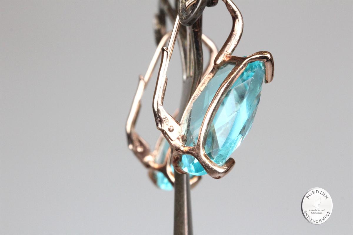 Ohrhänger 925 Silber verg. synth. Stein blau Ohrringe Schmuck Damen