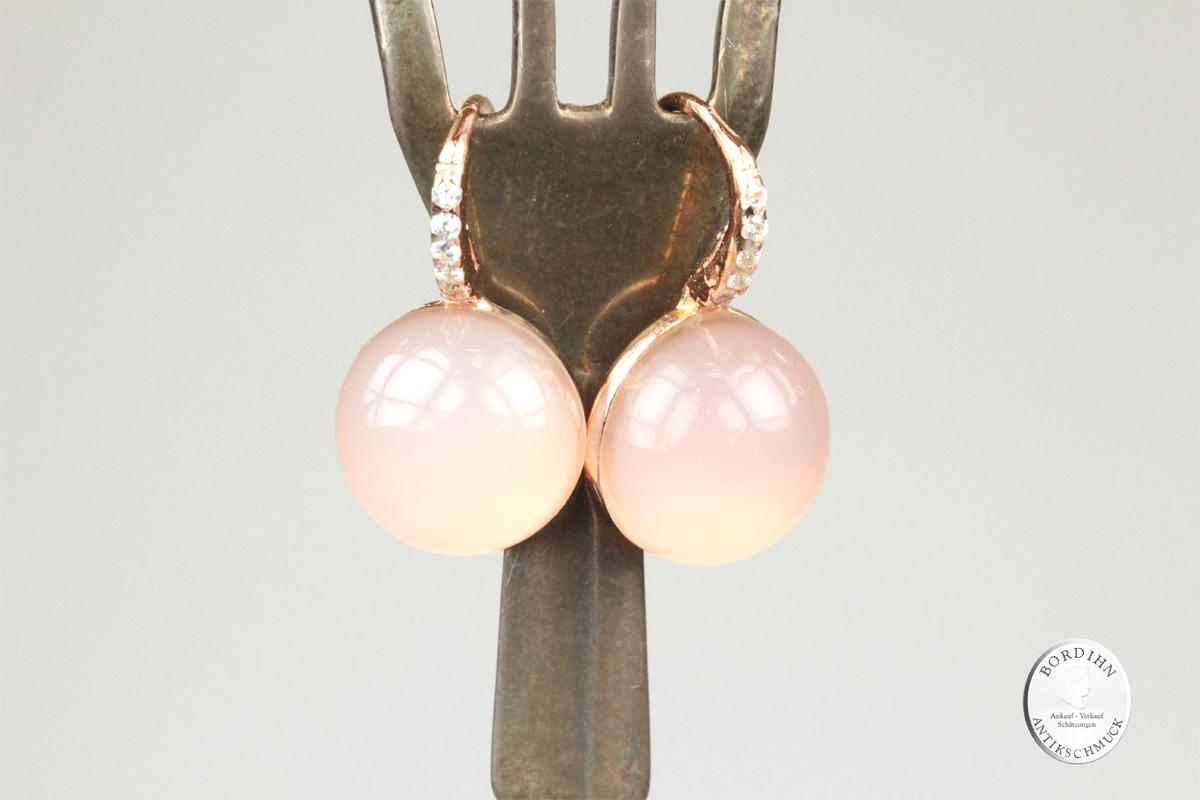 Ohrhänger 925 Silber verg. synthetischer Stein Kristall Ohrringe Damen