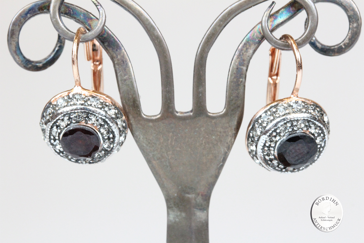 Ohrringe Silber vergoldet Granat Strass Ohrhänger Ohrschmuck Damen