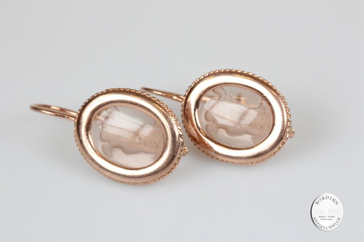 Ohrringe 925 Sterlingsilber vergoldet Glas Gemme Ohrhänger Ohrschmuck