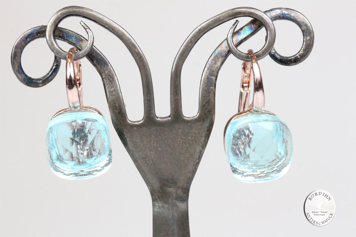 Ohrringe Sterlingsilber vergoldet synth Stein hellblau Ohrhänger Damen