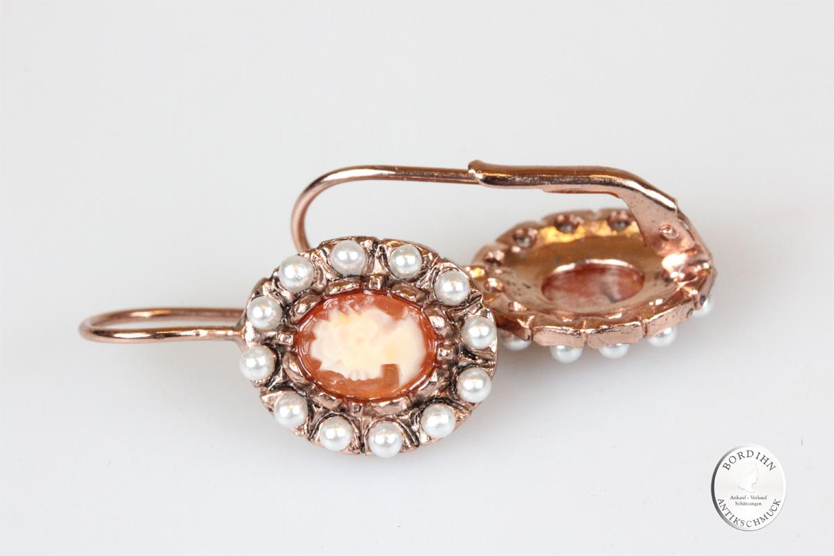 Ohrringe Sterlingsilber vergoldet echte Kamee synth Perlchen Ohrhänger