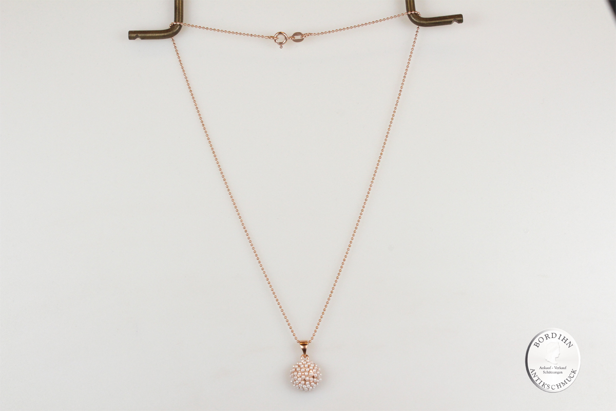 Collier Sterlingsilber vergoldet synth Perlchen Kettchen Halskettchen