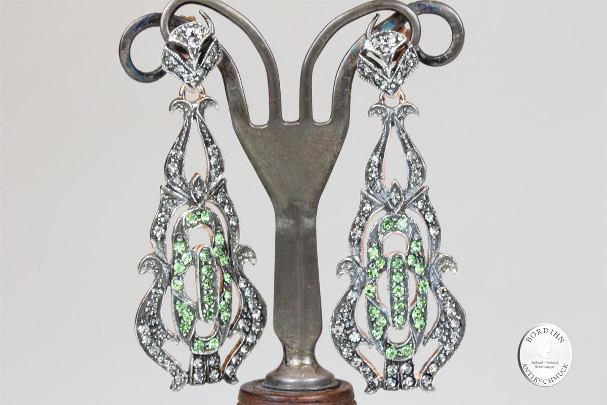 Ohrringe Sterlingsilber vergoldet Strass Ohrhänger Ohrschmuck Damen
