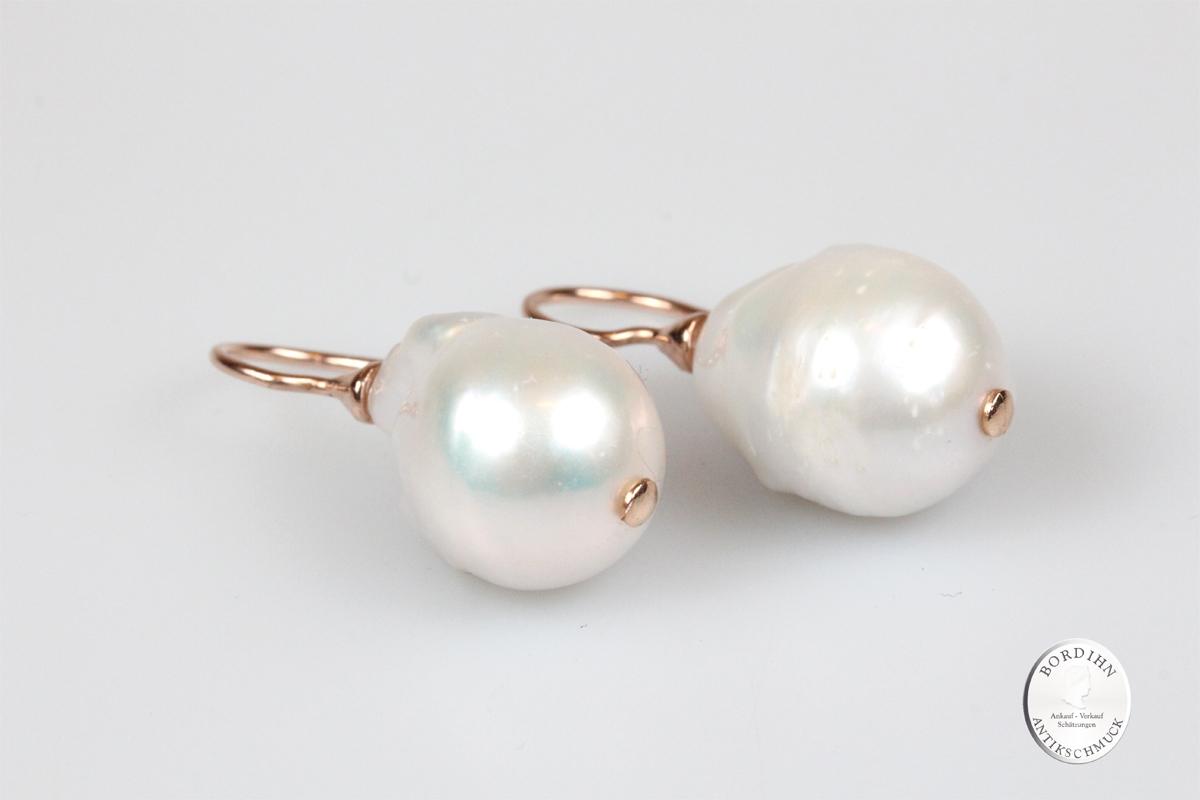 Ohrringe 925 Silber vergoldet Naturperle Ohrhänger Ohrschmuck Damen