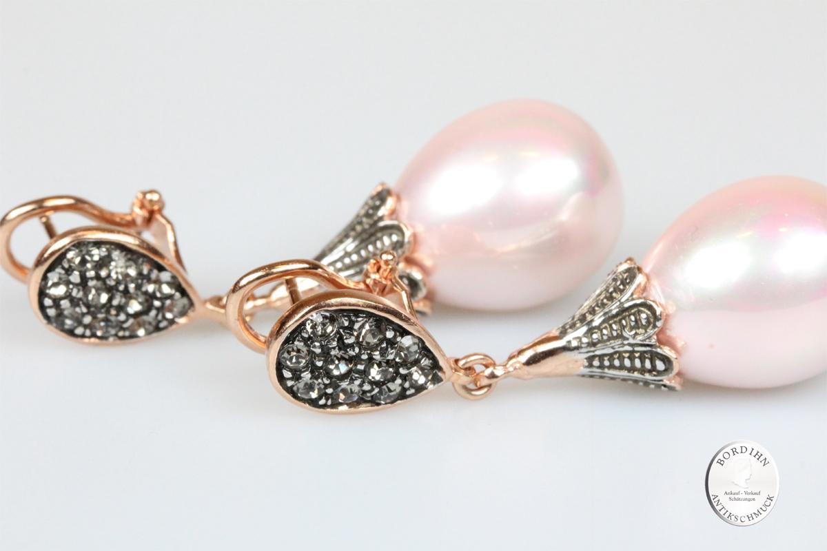 Ohrringe 925 Silber vergoldet synt rosa Perle Strass Ohrhänger Schmuck