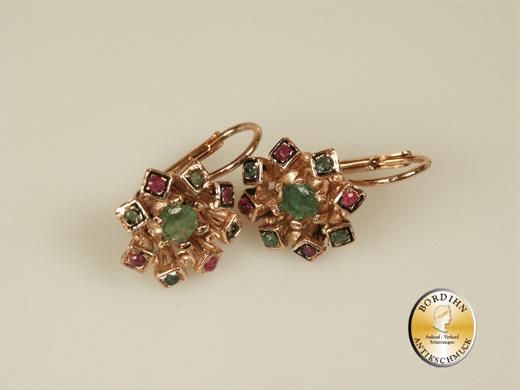 Ohrringe Silber vergoldet Rubin Smaragd Ohrhänger Ohrschmuck Schmuck