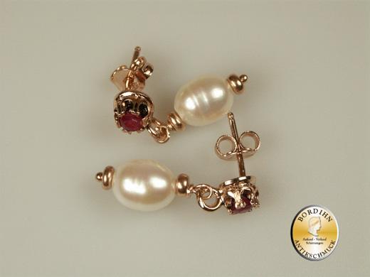 Ohrringe Silber vergoldet Rubin Flusswasser Perle Ohrhänger Schmuck