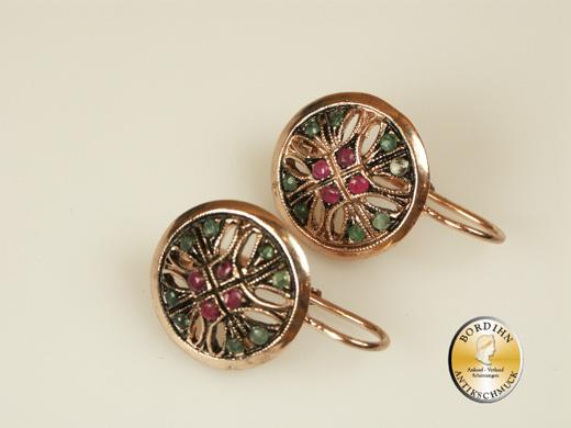 Ohrring Silber vergoldet Smaragd Rubin Ohrhänger Ohrschmuck Damen neu