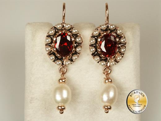Ohrring Silber vergoldet Granat Flußwasser Perlen Ohrhänger Ohrschmuck