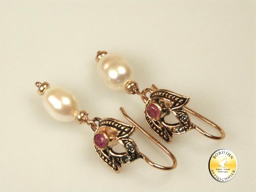 Ohrhänger Silber vergoldet Flussperlen Rubin Ohrring Ohrschmuck neu