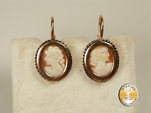Ohrringe Silber vergoldet Kamee Ohrhänger Ohrschmuck venezianisch neu