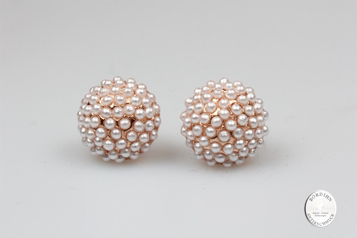 Ohrhänger Silber vergoldet  synthetische Perlen Ohrring Ohrschmuck neu