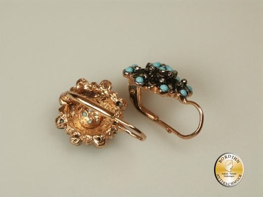 Ohrhänger; Silber/vergol, synth. Perlchen, Tütkis retro
