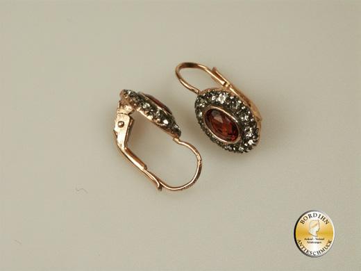 Ohrhänger Silber vergoldet Granat Strass Ohrringe Ohrschmuck Damen neu