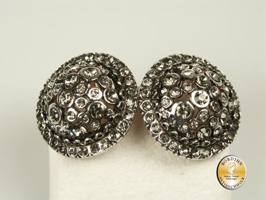 Ohrclip Silber vergoldet Clip Strass Ohrschmuck Damen Ohrring Geschenk