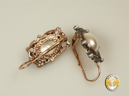Ohrhänger Silber vergoldet synthetische Perlen Ohrringe Ohrschmuck