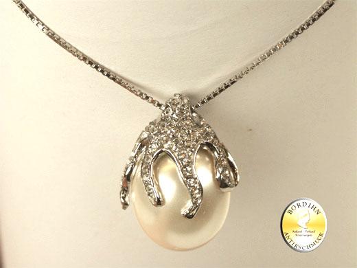 Collier 925 Silber Halskette synthetische Perle Anhänger Schmuck Damen