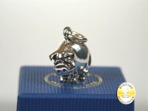 Anhänger; 925 Sterling Silber, Glücksschweinchen, neu