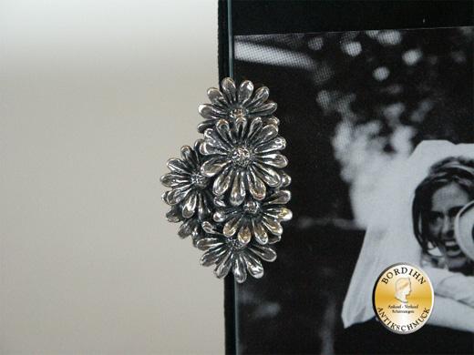Bilderrahmen; 800 Silber, mit Klammern Margeriten, neu