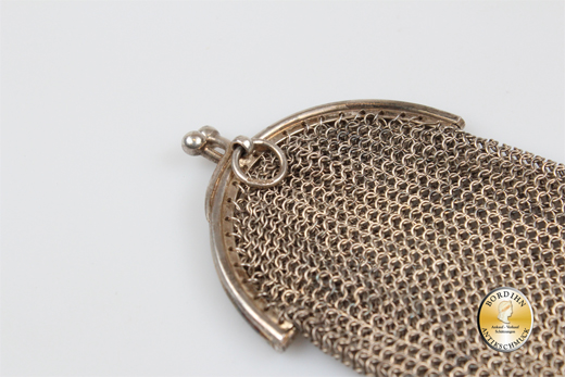 Täschchen 835 Silber gestrickt Anhänger Silberschmuck Sammler antik