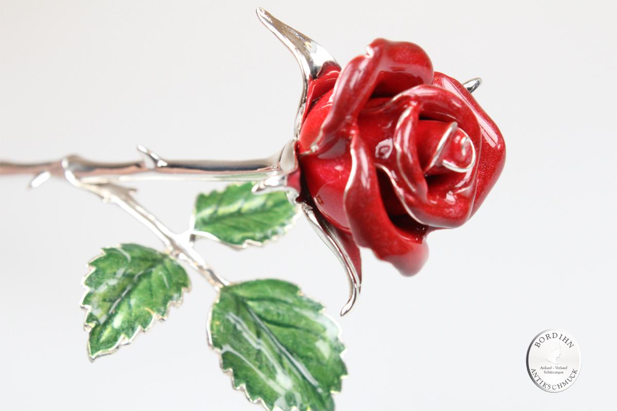 Rose 925 Sterlingsilber Email 3 Blätter rot Blume Geschenk Damen Liebe