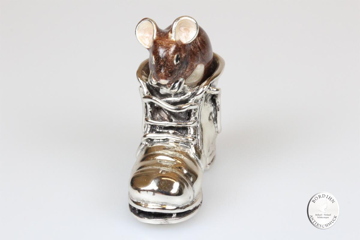 Maus im Bergschuh 925 Silber Email Tier Figur Miniatur Sammlerstück