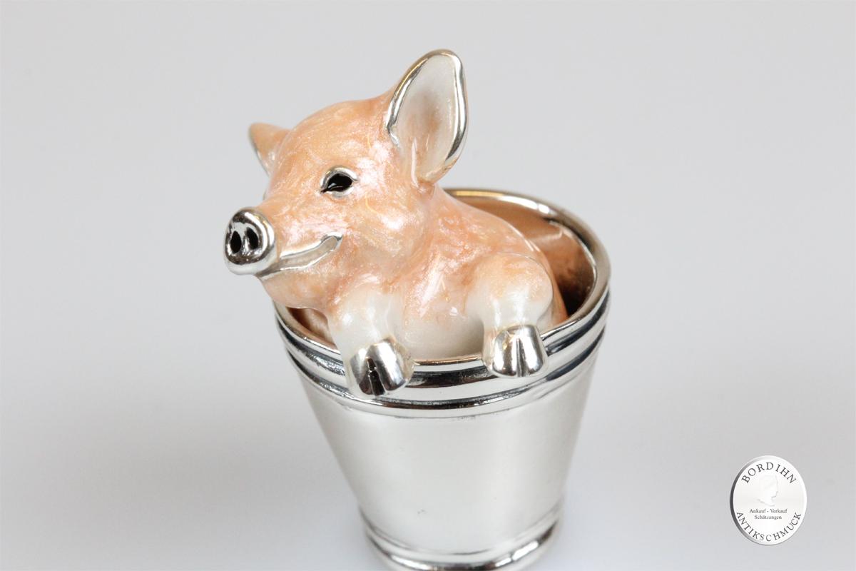 Tier Figur 925 Silber Email Schwein im Eimer Sammlerstück Saturno