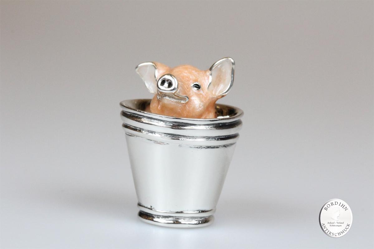 Schwein im Eimer klein Tier 925 Silber Sammlerstück Saturno Geschenk