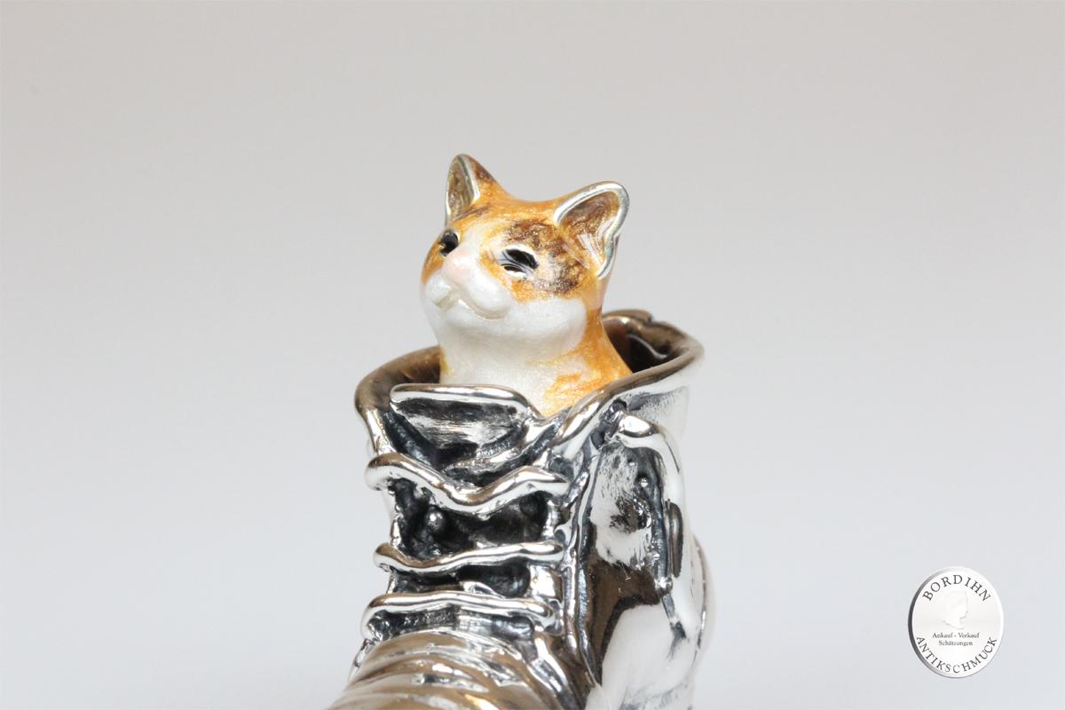 Katze im Stiefel Tier 925 Sterlingsilber Sammlerstück Saturno Geschenk