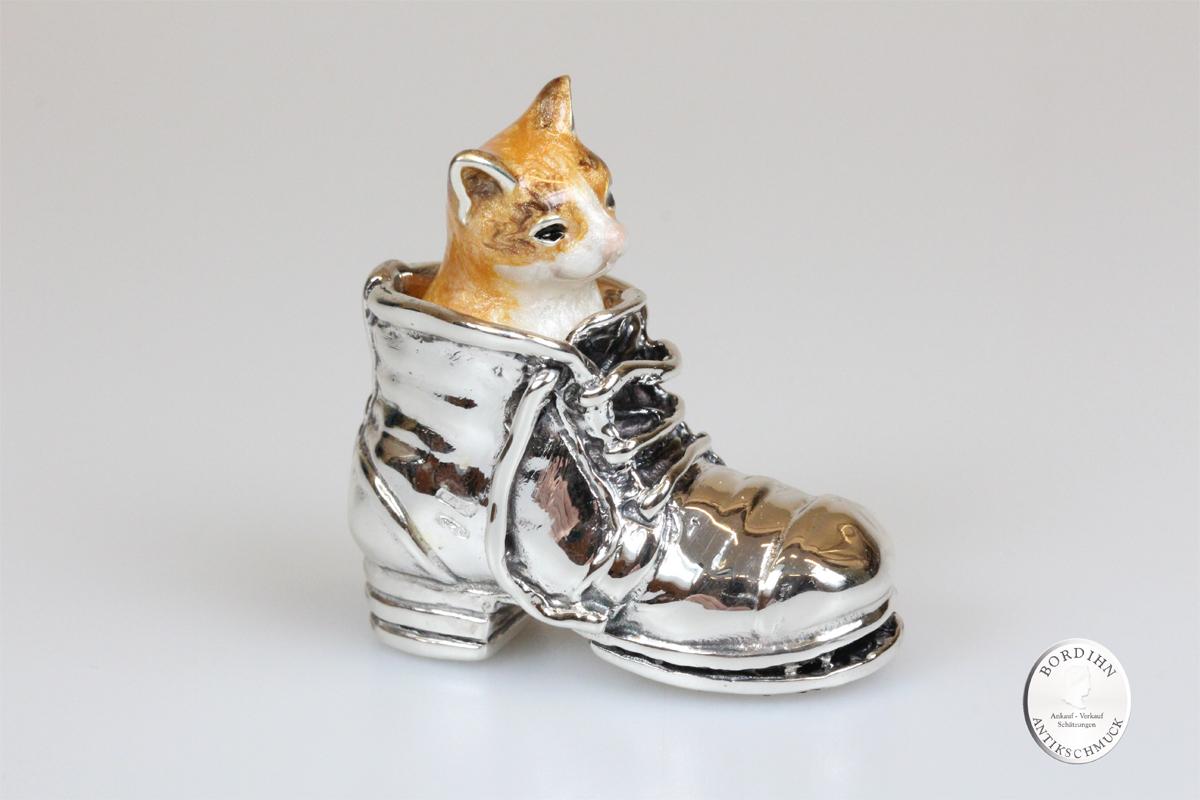 Katze im Stiefel Blick rechts Tier 925 Silber Sammlerstück Saturno