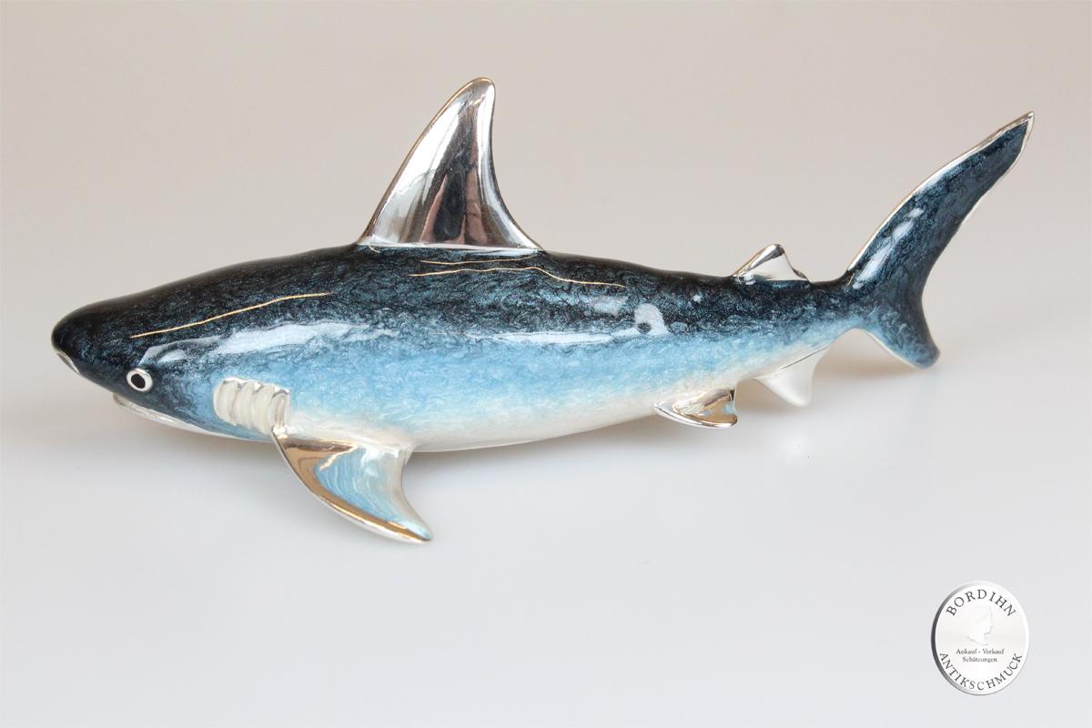Hai Fisch groß Tier 925 Silber Miniatur Sammlerstück Saturno Geschenk
