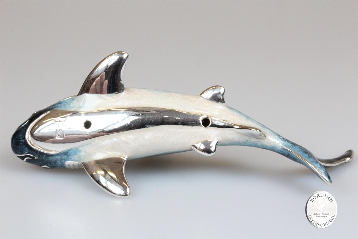 Hai Fisch klein Tier 925 Silber Miniatur Sammlerstück Saturno Geschenk