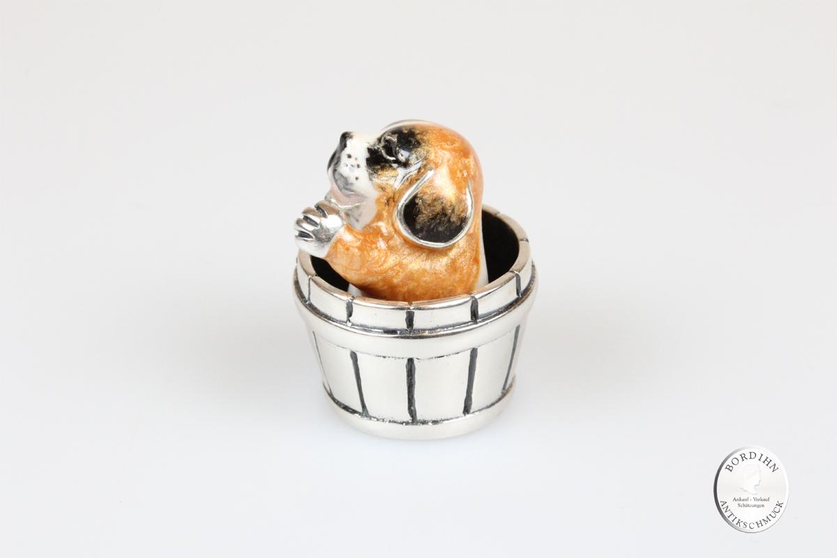 Bernhardiner im Eimer Tier 925 Silber Miniatur Saturno Sammlerstück