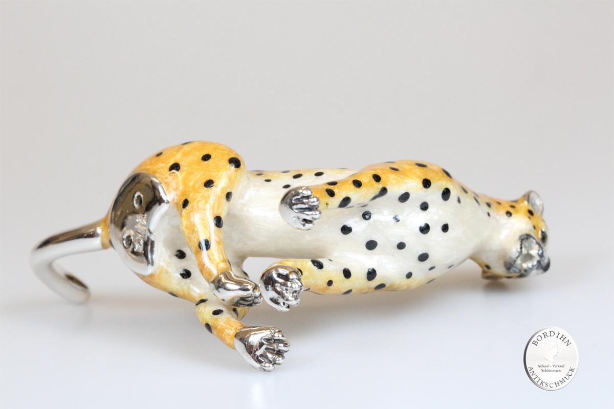 Gepard sitzend Tier 925 Silber Miniatur Saturno Sammlerstück Geschenk