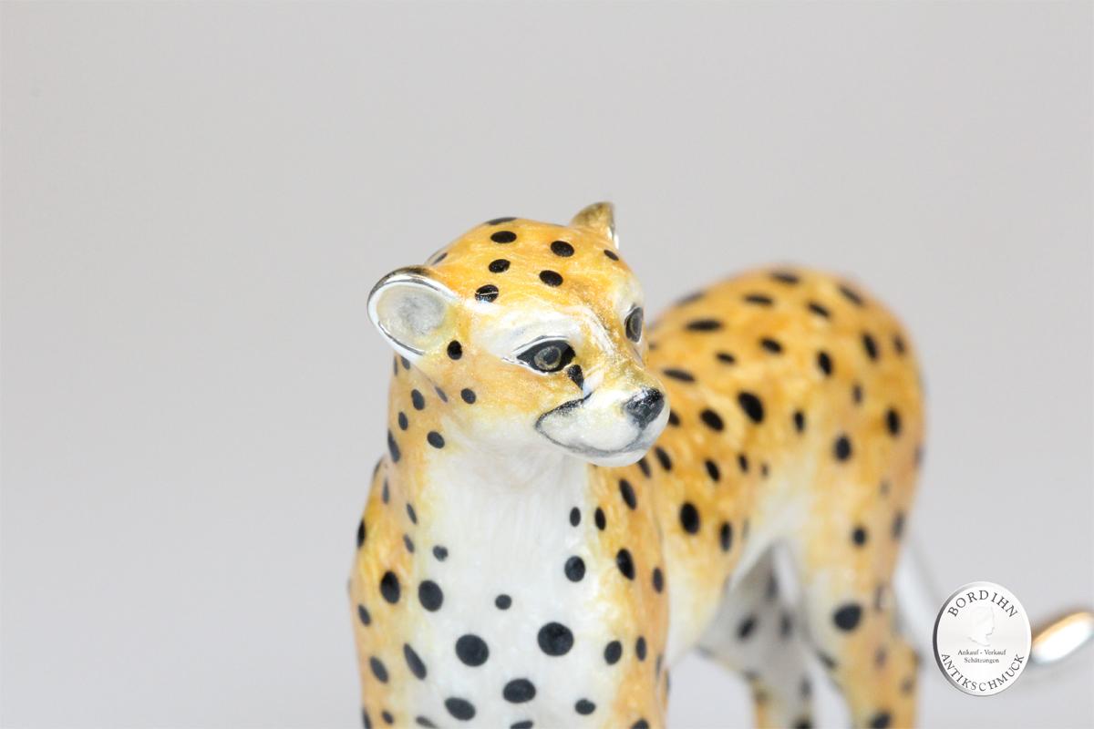 Gepard stehend Tier 925 Silber Miniatur Saturno Sammlerstück Geschenk