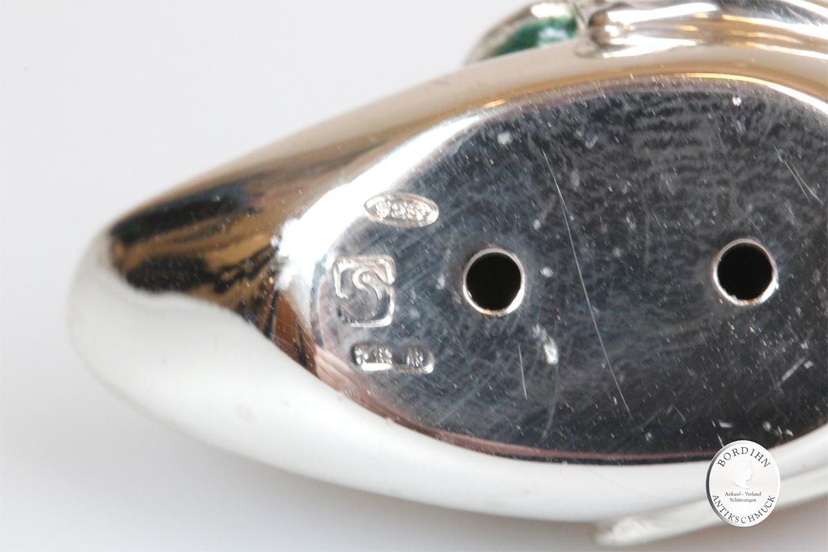 Mandarin Ente klein Tier 925 Silber Miniatur Saturno Sammler Geschenk