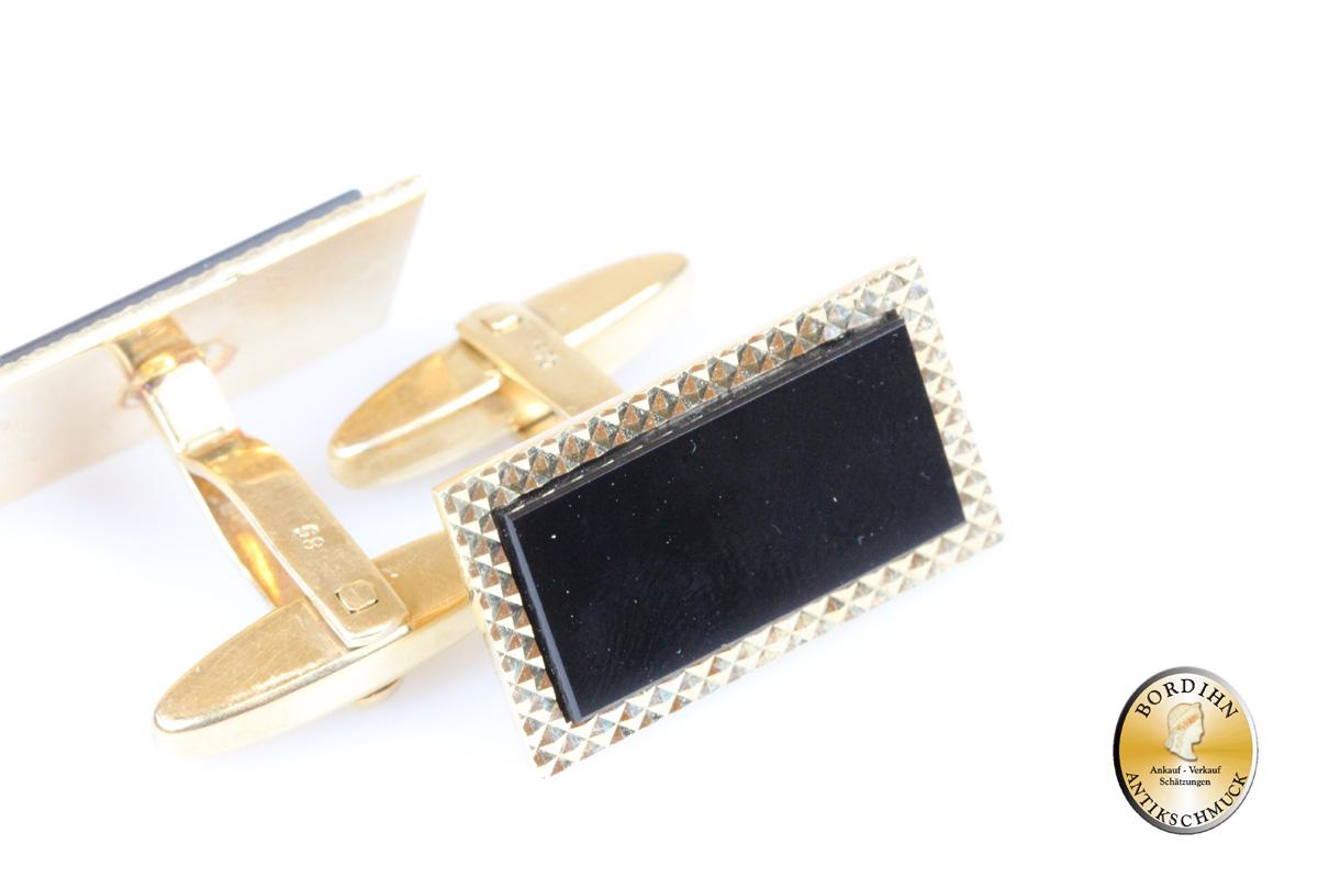 Manschettenknöpfe; 14 Karat Gold mit Onyx