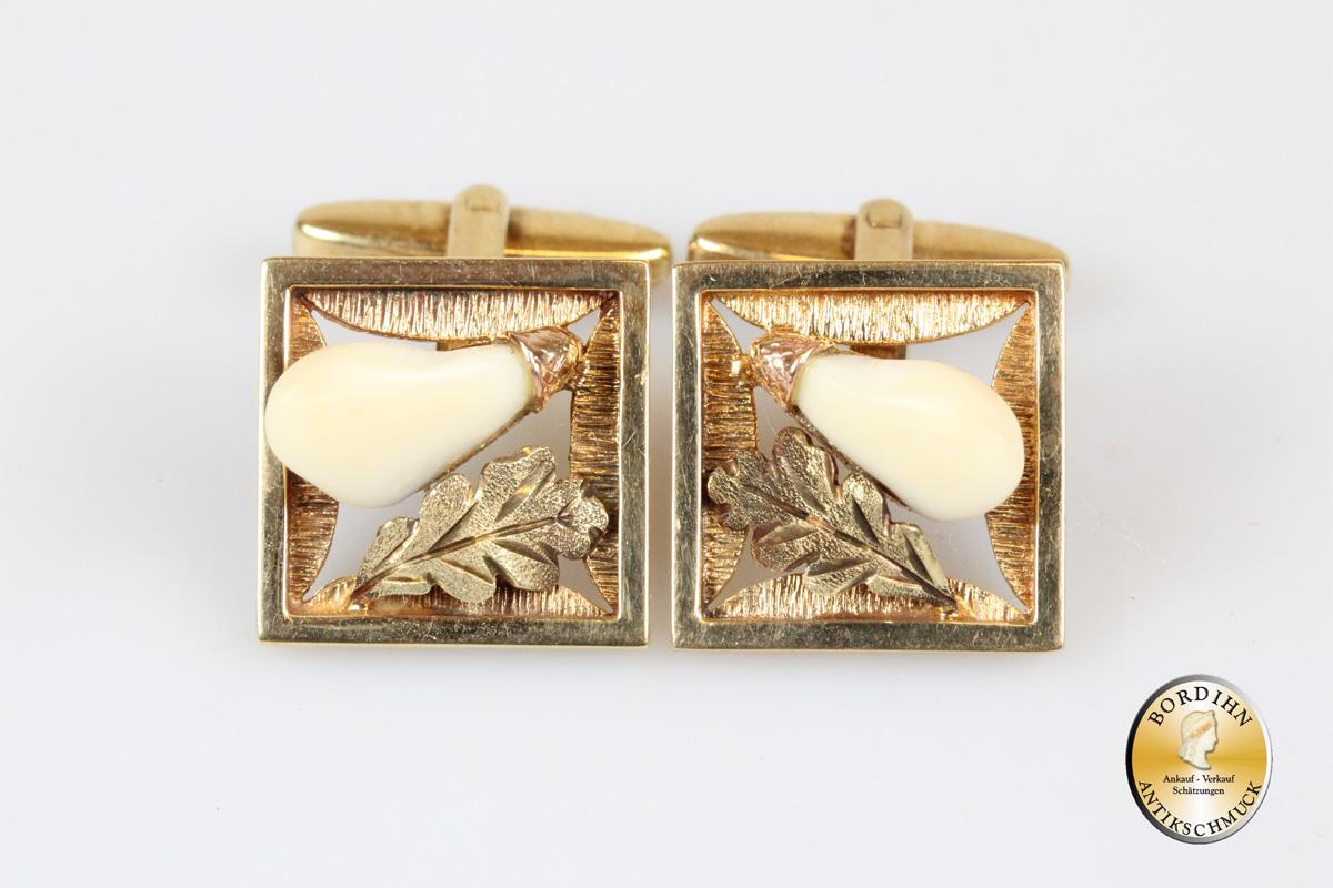 Manschetten; 14 Karat Gold mit Grandl, Eichenblatt
