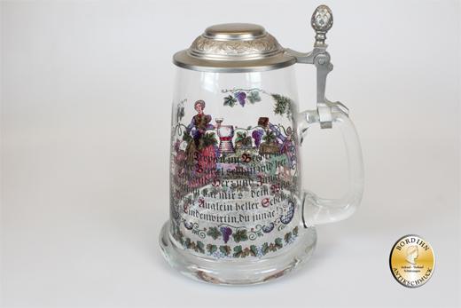Bierkrug; Glas bemalt, halber Liter, Zinndeckel