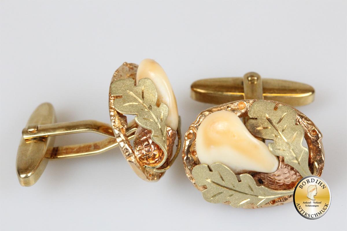 Manschettenknöpfe; 14 Karat Gold mit Grandel