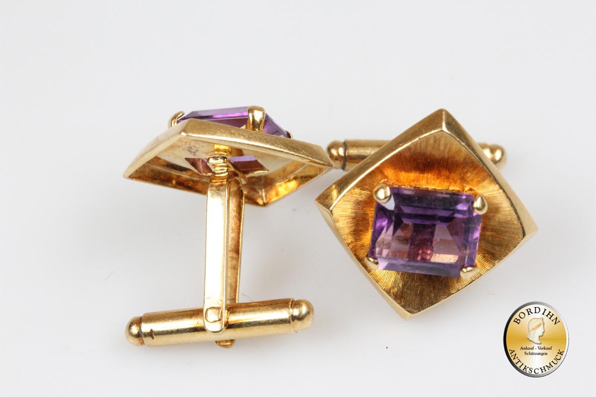 Manschettenknöpfe; 14 Karat Gold mit Amethyst