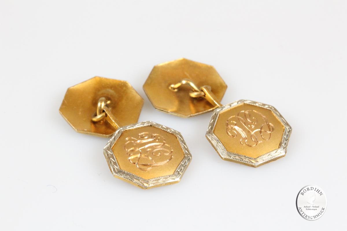 Manschetten Knöpfe 14 Karat Gold Graviert Goldschmuck Schmuck Herren